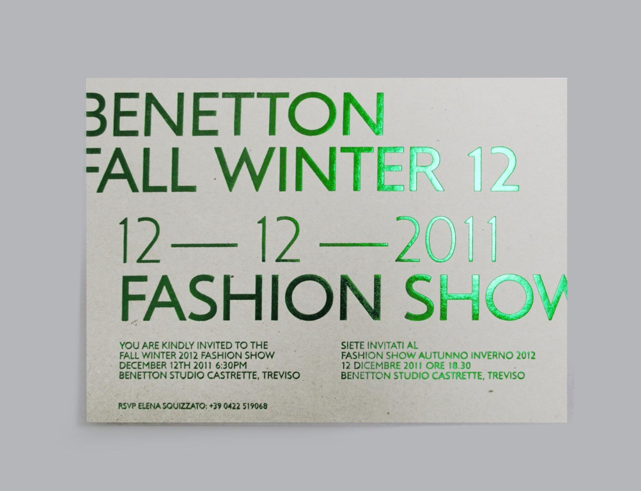 Isotype Benetton invitation